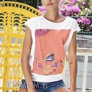 bluzka z plakatem dama od maxima, bluzka, bawełniana, kolorowa, nadrukiem