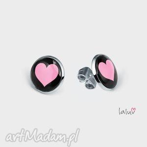 mini kolczyki sztyfty serce, karty, znak, pezent, grafika, miłość