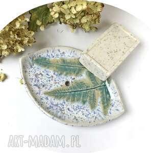 ceramiczna mydelniczka zima, polskie rzemiosło, polska ceramika, ręcznie robiony
