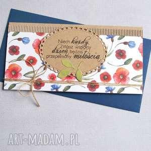 kartka kopertówka polne kwiaty maki chabry, ślub, ślubna, polne, łąka