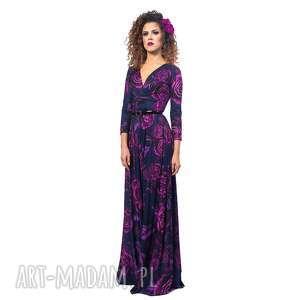 suknia maxi w kwiaty - helena magic rose, wieczorowa, długa, wygodna
