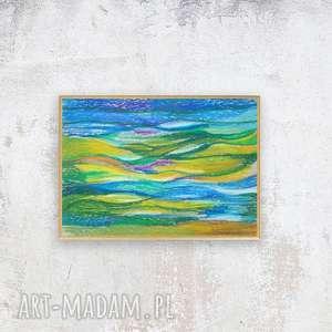 oprawiony szkic morski, mała abstrakcja w ramce, nowoczesny rysunek, obrazek