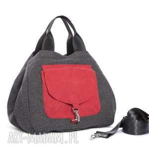 na ramię torba big duo xl - grafit czerwień, wielofunkcyjna, stylowa, wygodna