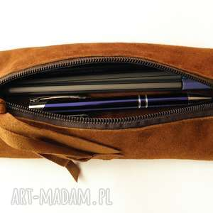 piórnik, etui na długopisy - jagnięca skóra naturalna, skóra, zamsz