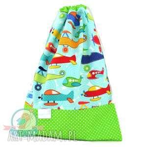 handmade dla dziecka worek na kapcie samoloty