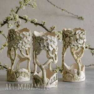 ceramika wiosenny zestaw 3 lampionów ceramicznych ręcznie lepionych, jasnych
