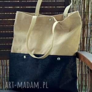 Prezent Beżowa torba z kieszeniami, torba, ekozamsz, kropki, wiosna, prezent