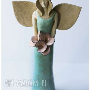 Seledynowy anioł z różami, ceramika, anioł, róże