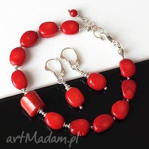 W czerwieni akadi 1 koral, srebro, delikatny, elegancki, komplet