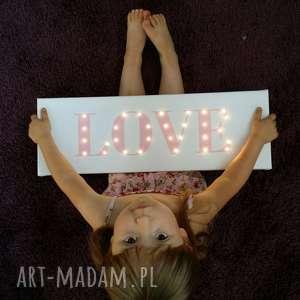 ręczne wykonanie pokoik dziecka świecący napis love prezent dekoracja pokój dziecka lampka nocna