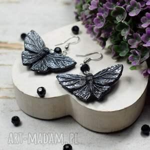 czarny motyl - kolczyki wiszące, motyle, motylki, biżuteria