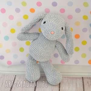 ręcznie zrobione zabawki szydełkowy króliczek z dedykacją - duży