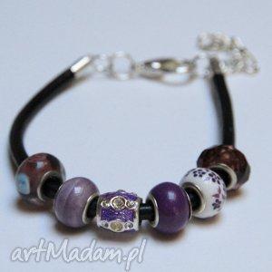 bransoletki fioletowa bransoletka z rzemienia skórzanego koralikami ze szkła murano