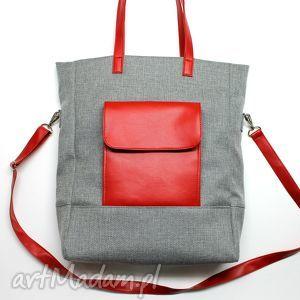 Prezent Shopper Bag - tkanina szara i skóra czerwona, elegancka, nowoczesna, prezent