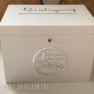 ślub pudełko na koperty ślub, białe z lustrzanymi napisami