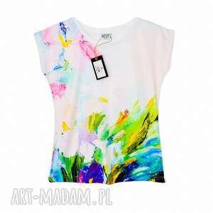 artystyczna bluzka damska abstract flowers, kwiaty, tshirt, print, nadruk, elegancka