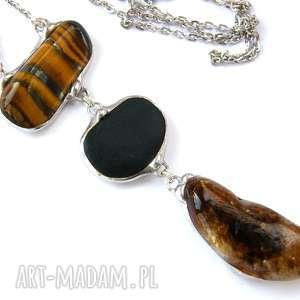 Wisior z łańcuszkiem w brązowej tonacji, wisior, kamienie, tygrysie-oko, cytryn