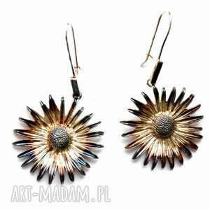 kolczyki - astry, kolczyki, srebrne, biżuteria, autorska, prezent, kwiaty