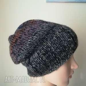 zimowa impresja - czapka, rękodzieło, bezszwowa, melanż, ombre, tweed, pod