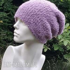 hand made czapki alpaca boucle efektowna zimowa czapka