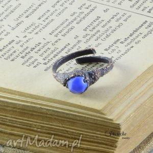 Modry - pierścionek ze szkłem , pierścionek, miedź, szkło, niebieski