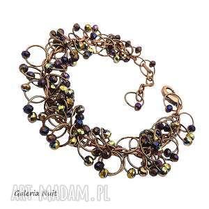 galeria nuit drobne kryształki - brasoletka metalowa, kryształki, miedź
