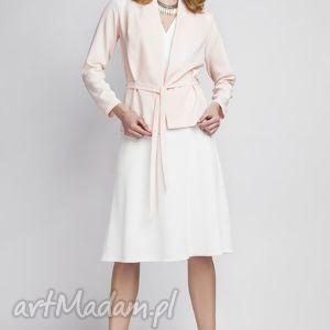 żakiet, za110 róż, elegancki, narzutka, kardigan, pasek, blezer, różowy ubrania