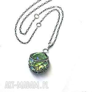 handmade wisiorki wisiorek z kulą kryształu swarovski