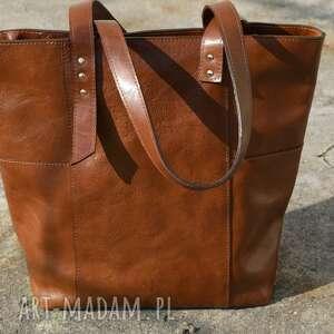 Duży shopper vintage na ramię juti bags skóra garbowana