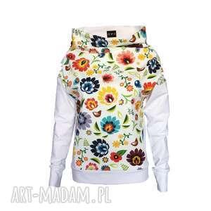 ręcznie robione bluzki bluza folkowa z motywem łowickim biała