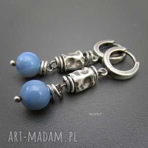 Gniecione walce z opalem, opal, kolczyki, srebro