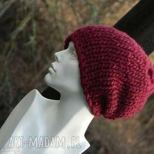 czapki syberianka bordo 100 wool czapa, ciepła, dziergana, gruby ścieg