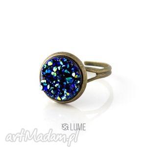 Pierścionek niebieski druzy, pierścionek, regulowany, vintage, żywica