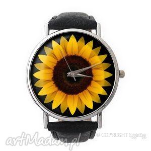 egginegg słonecznik - skórzany zegarek z dużą, kwiaty