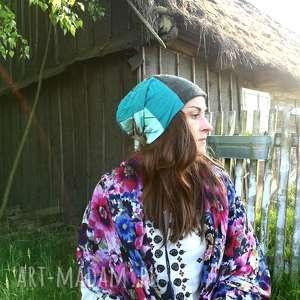 czapka damska dzianina tkanina patchwork, czapka, dzianina, etno, boho