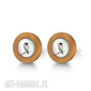 spinki do mankietów ptaszek - drewniane mankietów, spinki, mankiety