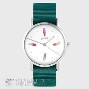 zegarek yenoo - kolorowe piórka morski, nato, zegarek, pasek, piórko