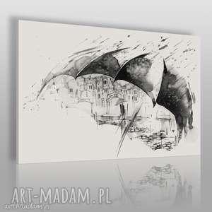 obrazy obraz na płótnie - parasol para czarno-biały 120x80 cm 68502