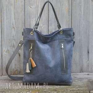 na ramię torba niebieska plus skóra szara, torebka, alkantara, skóra, pojemna