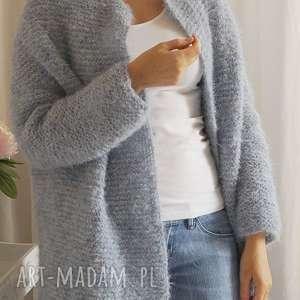 lekki kardigan, sweter, wełniany, dziergany, lekki, alpaka