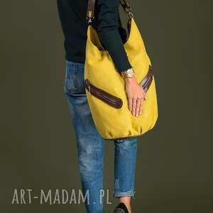 ręcznie wykonane na ramię kofi - duża torba worek musztardowa