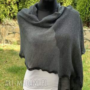 delikatny i zwiewny szal z merynosem grafitt 40 x 185 cm, szal, szalik, chusta