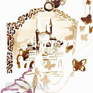 Przynęta - obraz kawą i piórem malowany - ,kopciuszek,pantofelek,kawa,karoca,motyle,retro,