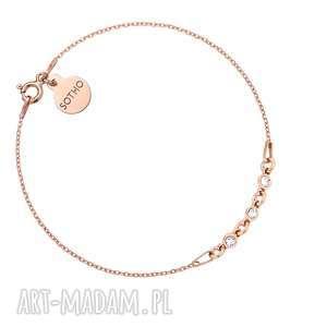 bransoletka z różowego złota kryształkami swarovski crystal, różowa, pozłacana