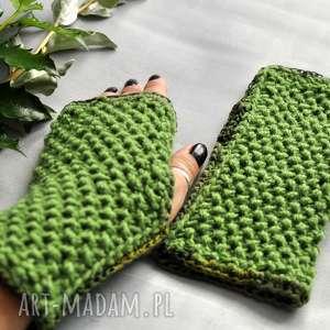 rękawiczki zielone mitenki, rękawiczki, nadłonie, prezent, jesienne