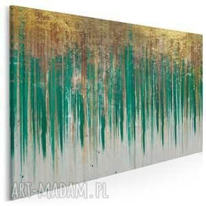 obraz na płótnie - wzór zielony złoty 120x80 cm 90404, abstrakcja, art deco