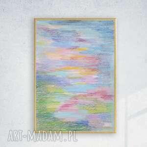 annasko pastelowy rysunek w ramce, oprawiona grafika kolorowa, abstrakcja