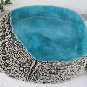 turkusowy talerz z koronką - ,ceramiczna,patera,turkusowa,koronkowa,ceramiczny,talerzyk,