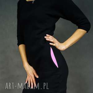 Sukienka dresowa DreSówka czarna z kieszeniami w kolorze ametystu, dresowa, tunika
