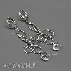 Srebrne kolczyki Bee , kolczyki, wire-wrapping, srebro, długie, kwarc-niebieski